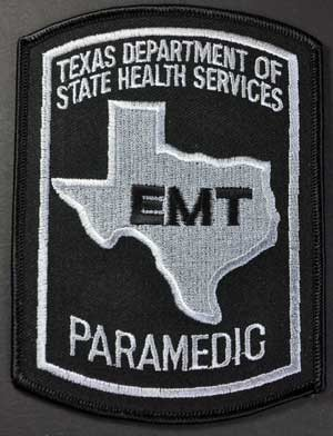Texas Paramedic Patch - Black on Grey